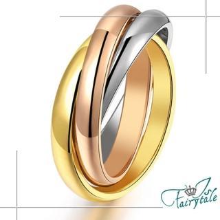 【伊飾童話】三色纏繞*多環鈦鋼戒指