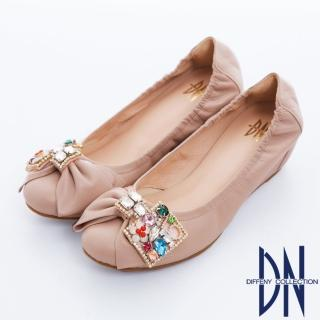 【DN】心機美學 MIT寶石鑽飾羊皮內增高娃娃鞋(粉)