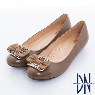 【DN】通勤甜心 拼接羊皮蝴蝶結娃娃鞋(可可)