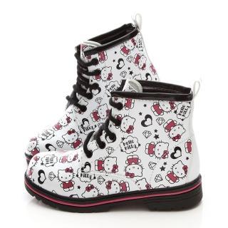 【三麗鷗】Hello kitty LOGO塗鴉風馬丁鞋(713580-白)