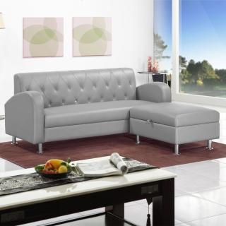 【綠活居】皮內達銀灰皮革L型沙發(三人座+收納凳)