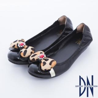 【DN】心機美學 豹紋蝴蝶結內增高羊皮娃娃鞋(黑)