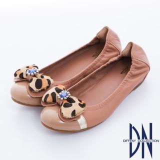 【DN】心機美學 豹紋蝴蝶結內增高羊皮娃娃鞋(粉)