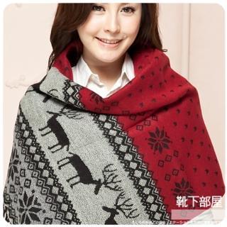 【靴下部屋】麋鹿雪花季˙加大版披肩圍巾(四色可選)