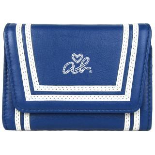 【agnes b.】ab heart雙白線軟皮翻扣零錢夾(藍)