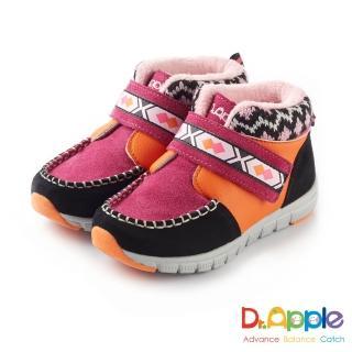 【Dr. Apple 機能童鞋】麂皮暖暖經典圖騰短靴(桃)