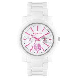 【GOTO】耀彩悸動三眼陶瓷時尚腕錶-粉紅x白(GC1360B-22-2F1)
