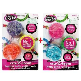 【美國Cra-Z-Art】Cra-Z-Loom圈圈彩虹編織(亮色+螢光橡皮筋補充包1800條)