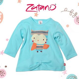 【美國 Zutano】蝶結下擺長袖上衣-河岸貓頭鷹 款 #LO421-AQUA-O
