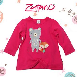 【美國 Zutano】蝶結下擺長袖上衣-桃紅小動物 款 #LO416-FUCH-O