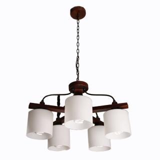 【華燈市】美式鄉村風5燈吊燈(北歐原木風)