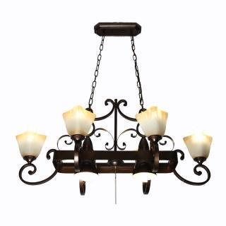 【華燈市】美式鄉村風8燈吊燈(田園自然風)