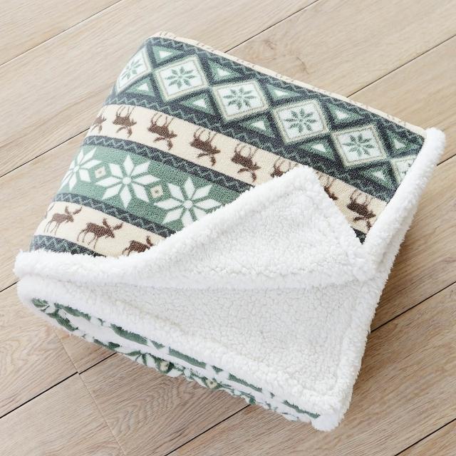 【BELLE VIE】歐風麋鹿 羊羔絨隨意毯(120X160cm)