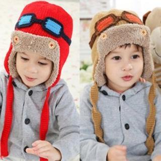 【PS Mall】秋冬潮帽 小小飛行員 加絨護耳 兒童毛線帽 保暖毛帽(J408)