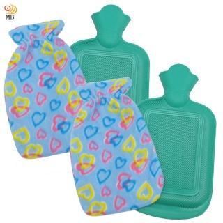 【月陽】時尚花紋1升冰熱兩用保暖水袋熱水袋送絨布套超值2入(00252)