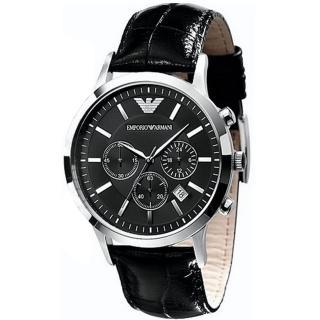 【ARMANI】優質型男三眼皮帶腕錶-黑(AR2447)