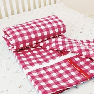 【奶油獅】格紋系列-台灣製造-100%精梳純棉兩用鋪棉被套/四季被(紅-雙人)