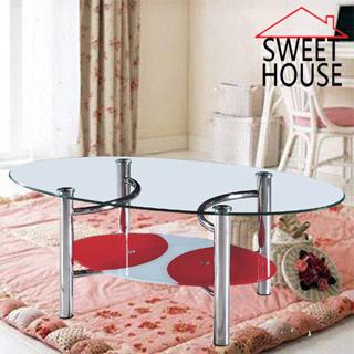 【甜美家】小紅莓4尺強化玻璃茶几(強化玻璃)