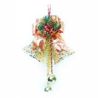 【聖誕節裝飾品】8吋雙花鐘吊飾(紅金色)