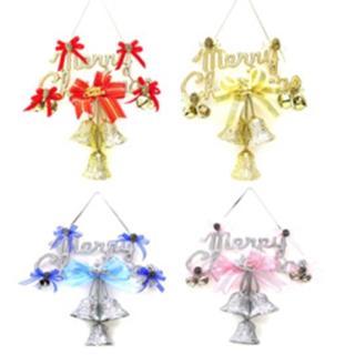 【聖誕節裝飾品】8吋聖誕快樂英文字牌花鐘吊飾(單入)