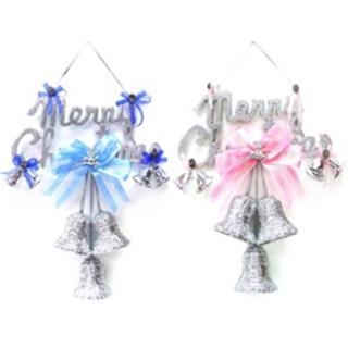 【聖誕節裝飾品】12吋聖誕快樂銀色英文字牌花鐘吊飾(單入)
