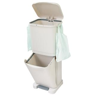 【生活King】直立式雙層腳踏式垃圾桶-4分類(40L)