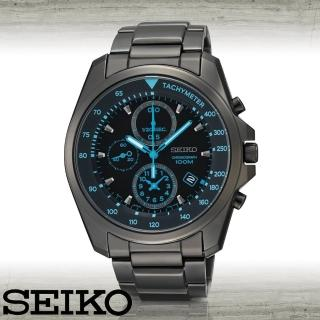 【SEIKO 精工】黑鋼計時碼錶男錶(SNDD67P1)
