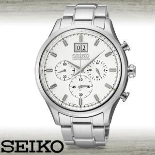 【SEIKO 精工】大錶徑三眼計時紳士錶(SPC079P1)