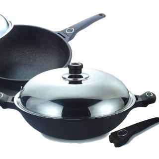 【王樣OSAMA】日式黑金鋼炒鍋-36cm(贈送:木煎匙一只)