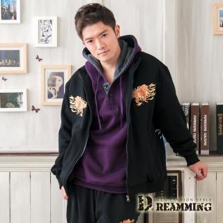 【Dreamming】日系加絨Dragon立領棉質刷毛外套(共二色)