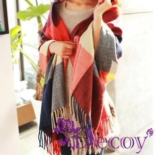 【Decoy】蘇格蘭格紋*寬版編織圍巾/四色可選