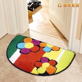 【居家G+】繽紛花朵超細纖維止滑地墊(40X60公分-半圓形)