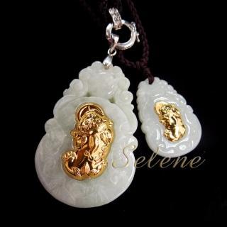 【Selene珠寶】玉鑲金翡翠貔貅墜鍊(A貨翡翠)