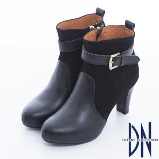 【DN】典藏風尚 真皮小香風金色單釦高跟踝靴(黑)