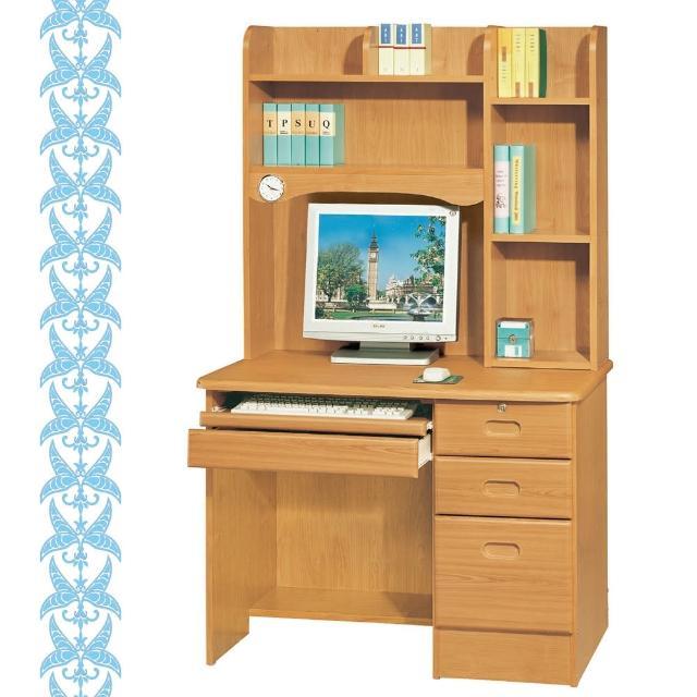 【綠活居】特尼爾3.5尺赤陽色電腦書桌組(上+下)