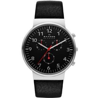 【SKAGEN】Ancher 簡約輕薄三環顯示皮革腕錶-黑色 40mm(SKW6100)