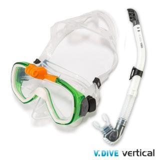 【V.DIVE】威帶夫潛水精品組GoProT面鏡101G(白綠色)