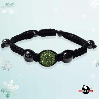 【HEMAKING】香巴拉 12mm 晶鑽編織手鍊(青草綠)