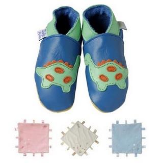 【英國Daisy Roots】英國百年手做全皮革童鞋/彌月禮盒(小恐龍方巾組)