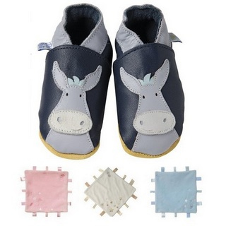 【英國Daisy Roots】英國百年手做全皮革童鞋/彌月禮盒(小驢子方巾組)