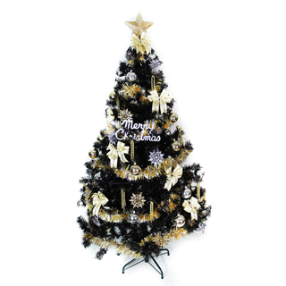 【聖誕樹】台灣製4呎/4尺120cm時尚豪華版黑色聖誕樹+金銀色系配件-不含燈