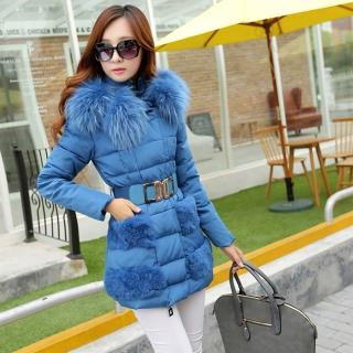 【。DearBaby。】全尺碼花球狀顯瘦保暖口袋毛毛羽絨大衣外套-藍色(預購)