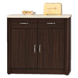 【顛覆設計】卡里胡桃色2.7尺仿石面餐櫃下座