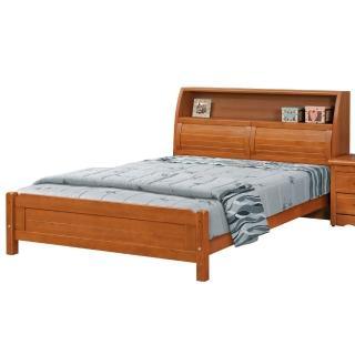 【顛覆設計】查理士5尺雙人樟木色百葉書架床(不含床墊、床頭櫃)