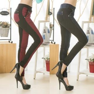 【RH】鬆緊寬腰褲頭拼雙色刷毛牛仔長褲超值兩件組(藍拼黑+紅拼黑雙色專利牛仔褲)
