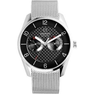 【OBAKU】OBAKU 無垠惑星極簡時尚腕錶-黑x銀米蘭帶(V171GMCBMC)