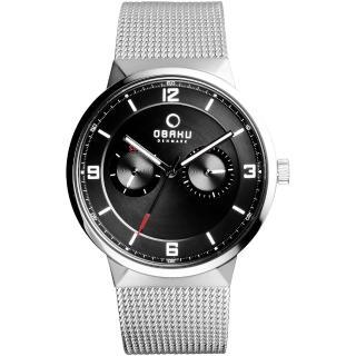 【OBAKU】浩瀚星宇雙眼日期腕錶-黑x銀米蘭帶(V170GMCBMC)