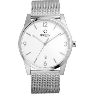 【OBAKU】極致深焙簡約日期腕錶-銀框白x米蘭帶(V169GDCIMC)