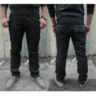 【RH】紳士簡約牛仔內刷毛牛仔長褲(深藍內刷毛實腰實碼)