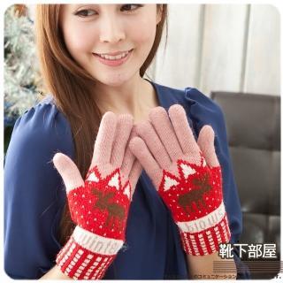 【靴下部屋】麋鹿暖暖祝福!厚地雙層編織手套(草莓紅粉)